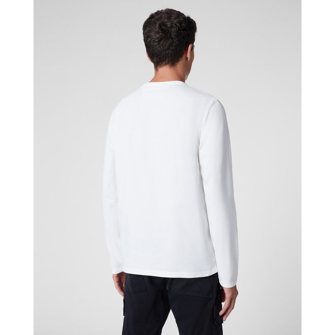Garment Dyed Brushed Jersey Long Sleeve Logo T-Shirt in Gauze White