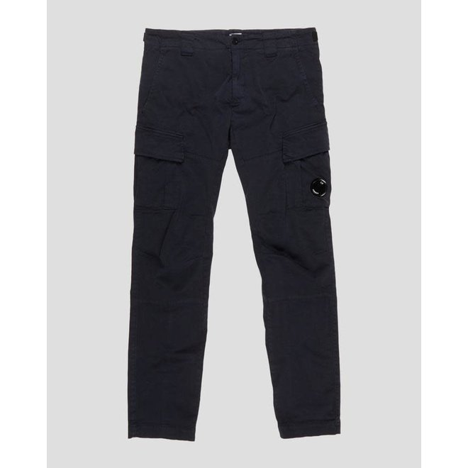 Garment Dyed Stretch Sateen Fitted Lens Pocket Pants in Total Eclipse