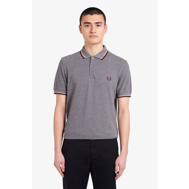 Twin Tipped Fred Perry Shirt in Grey Marl/Champagne/Mahogany