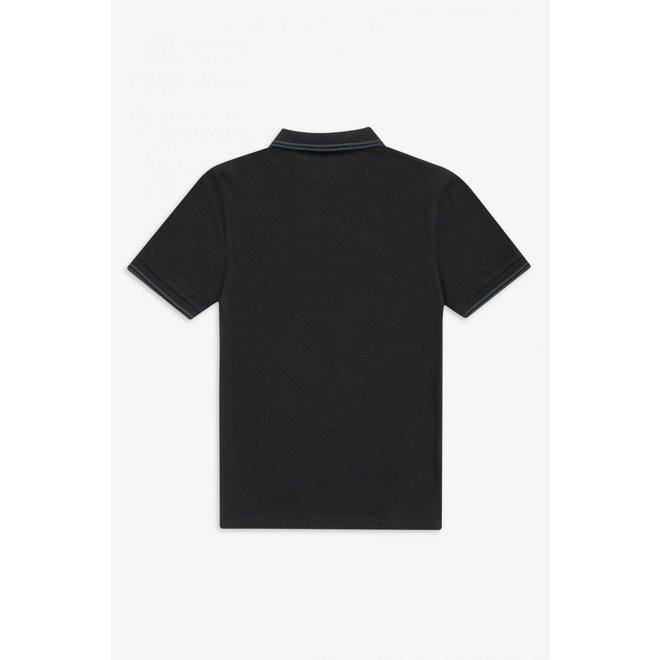 Twin Tipped Fred Perry Shirt in Black/Petrol/Petrol