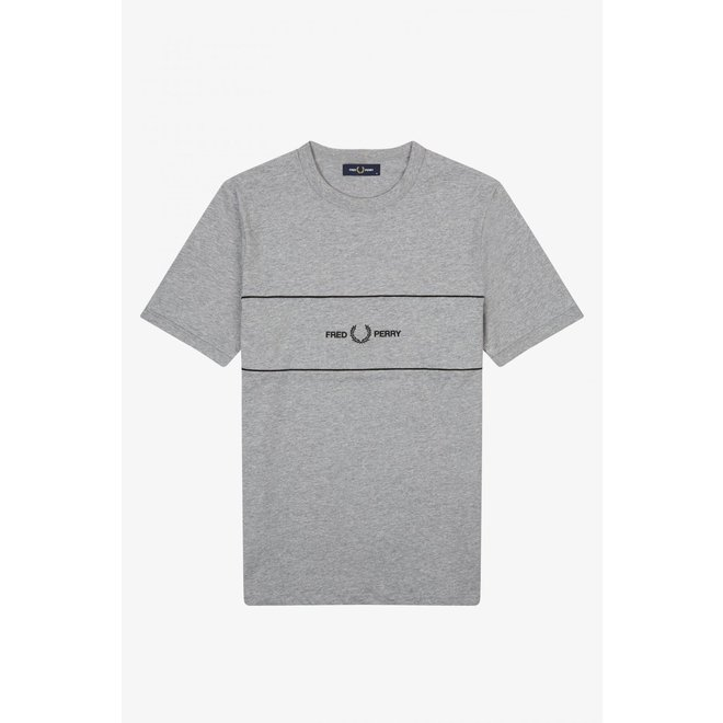 Embroidered Panel T-Shirt in Steel Marl