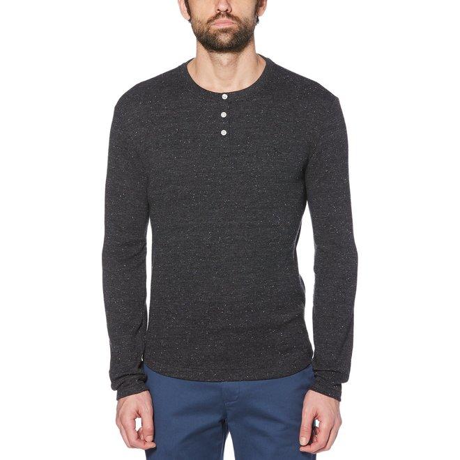 Waffle Henley Long Sleeve Shirt in Dark Sapphire