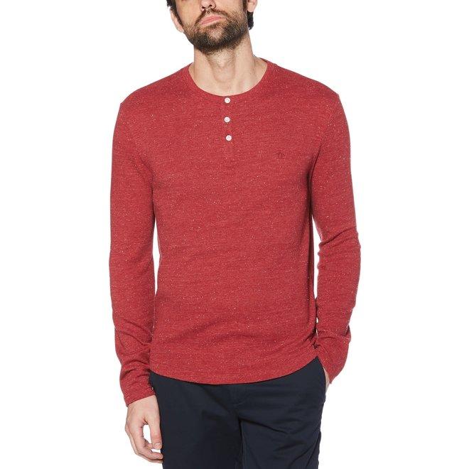 Waffle Henley Long Sleeve Shirt in Biking Red