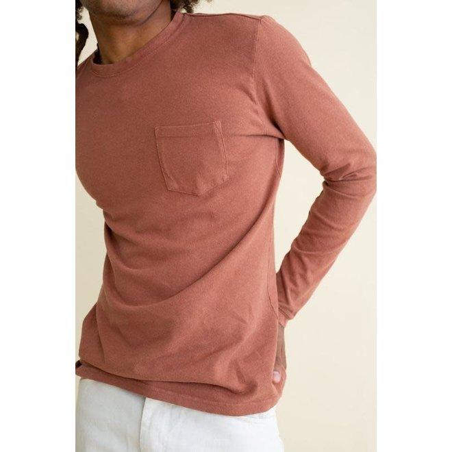 Baja Long Sleeve Pocket Tee in Terracotta