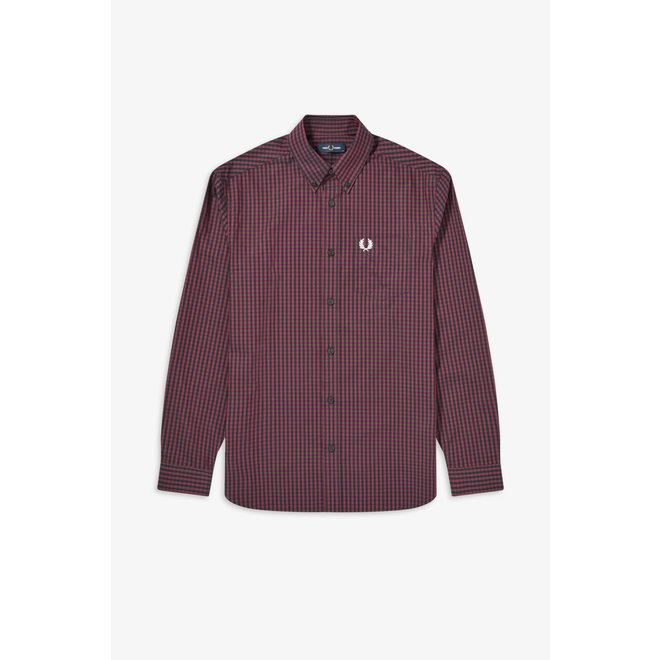 Four Colour Gingham Shirt in Mahogany