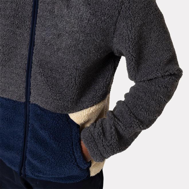 Blocked Fleece in Grey/Navy