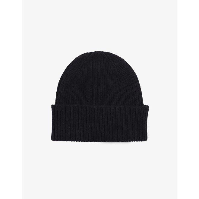 Merino Wool Beanie in Deep Black