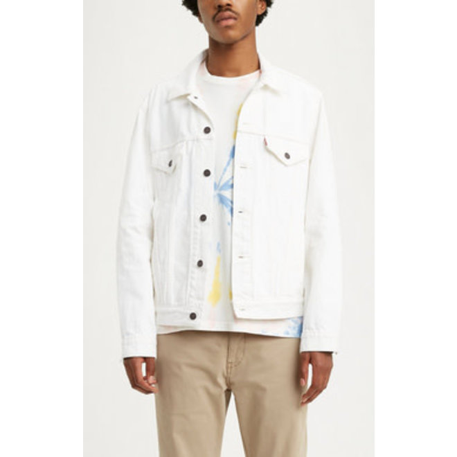 Vintage Fit Trucker Jacket in White