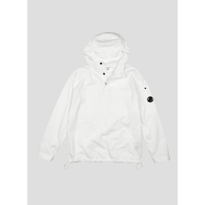 Gabardine Garment Dyed Hooded Shirt in Gauze White
