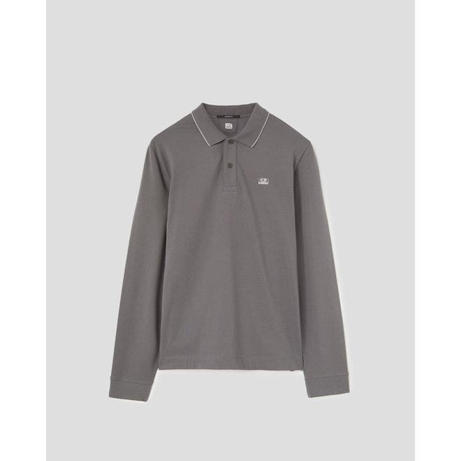 Stretch Piquet Long Sleeve Logo Polo Shirt in Gargoyle