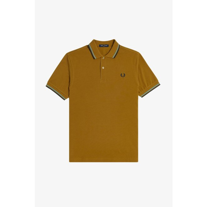 Twin Tipped Fred Perry Shirt in Dark Caramel/Smoke Blue/Navy