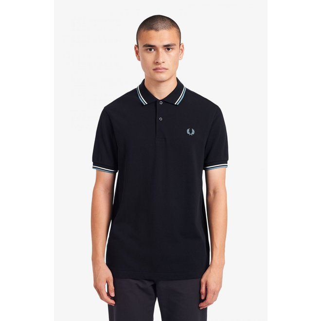 Twin Tipped Fred Perry Shirt in Navy/Snow White/Smoke Blue