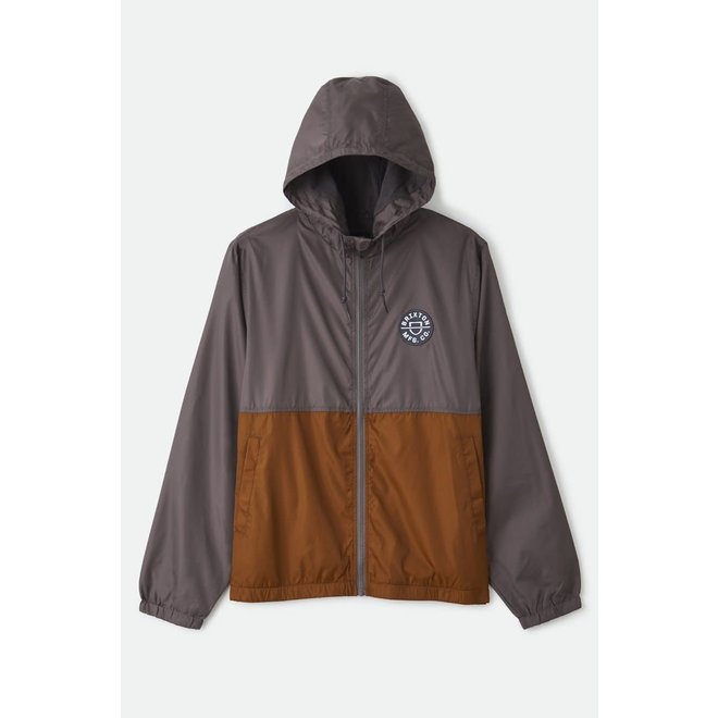 Claxton Crest Lightweight Zip Hood Jacket in Charcoal/Copper