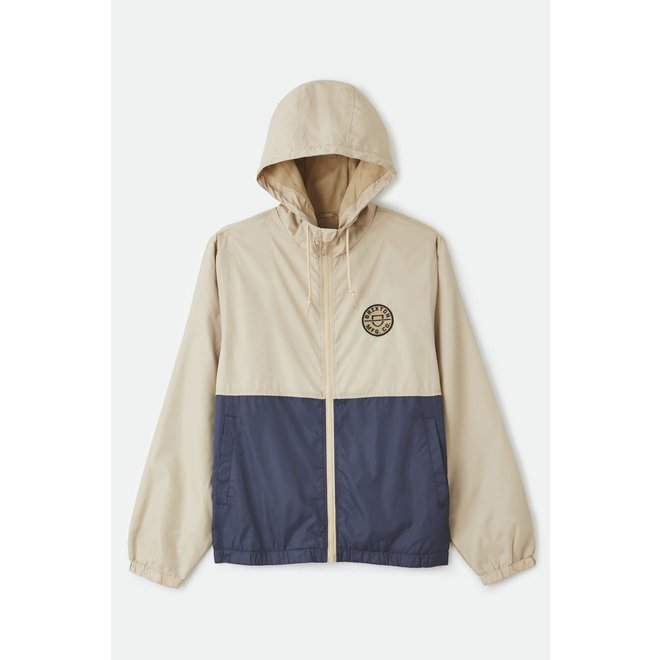 Claxton Crest Lightweight Zip Hood Jacket in Vanilla/Steel Blue