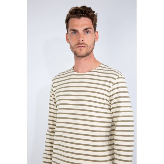 Mariniere Heritage Sweatshirt in Natural/Fern