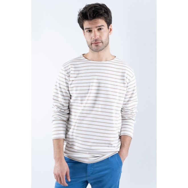 "Breton Heritage ""Houat"" Shirt in White/Flax Beige"