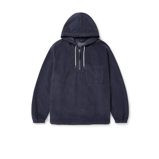Utility Corduroy Hooded Overshirt in Navy