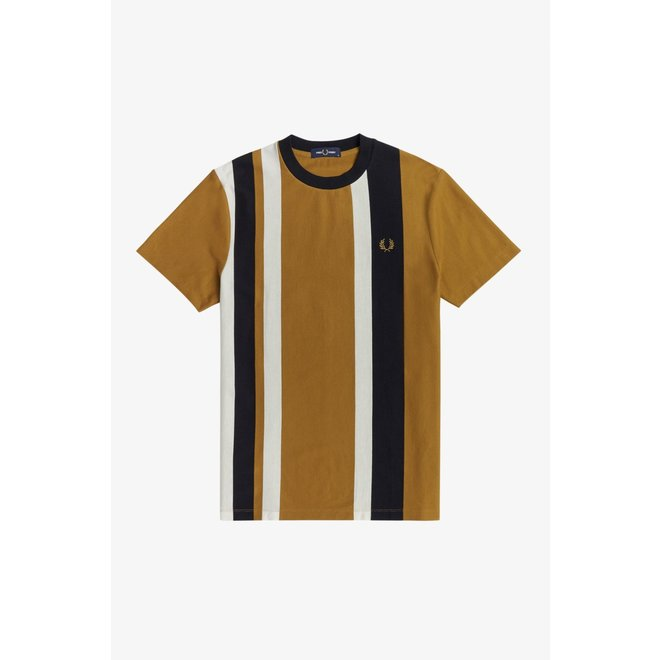 Striped Piqué T-Shirt in Dark Caramel