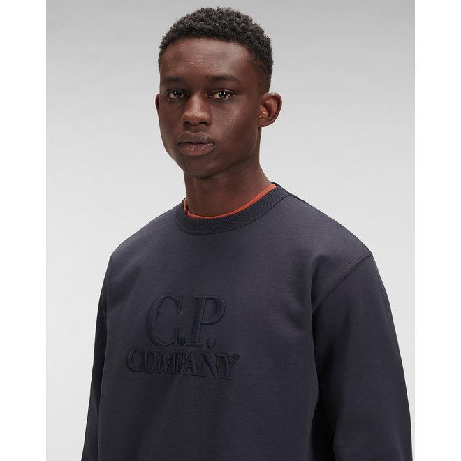 Diagonal Fleece Logo Sweatshirt in Total Eclipse
