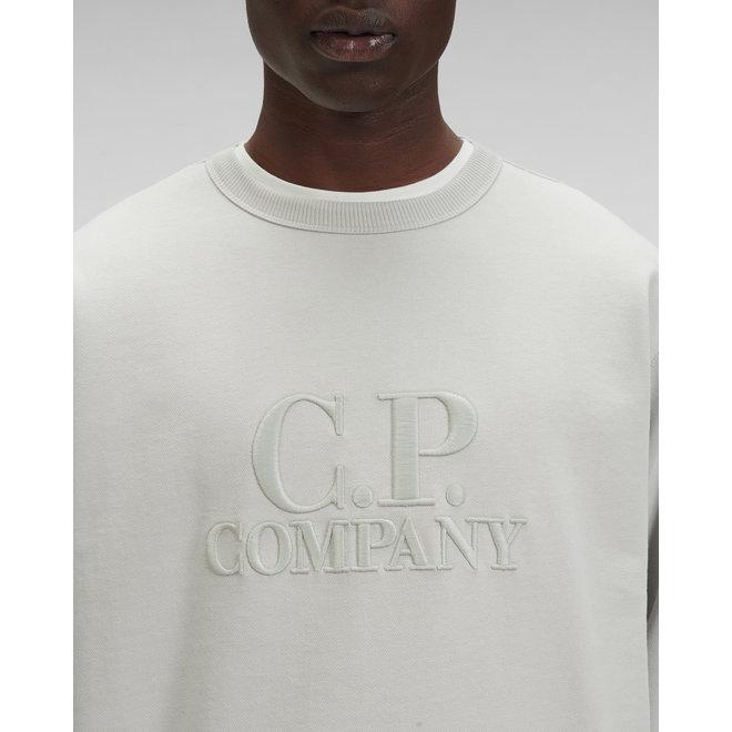 Diagonal Fleece Logo Sweatshirt in Gauze White