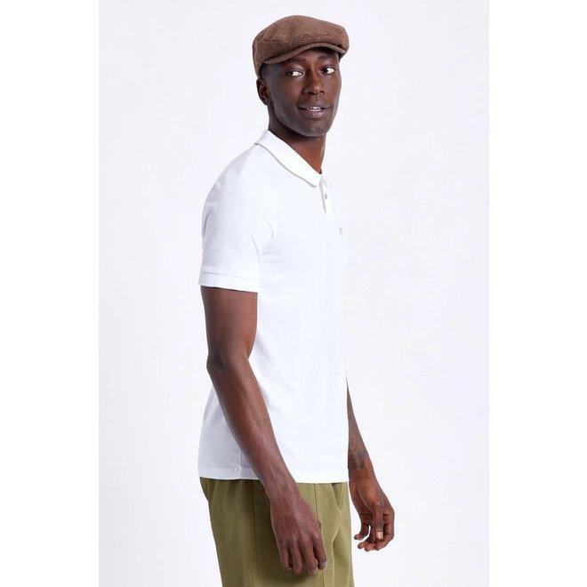 Proper Pique Polo Knit in White/Grey