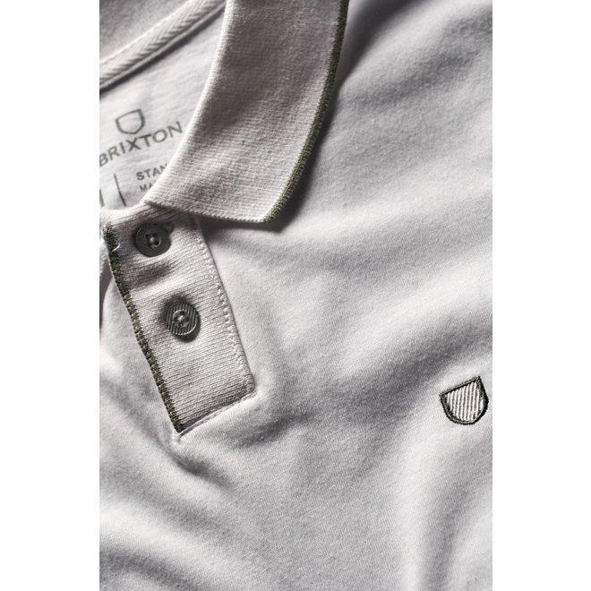 Proper S/S Pique Polo Knit in White/Grey