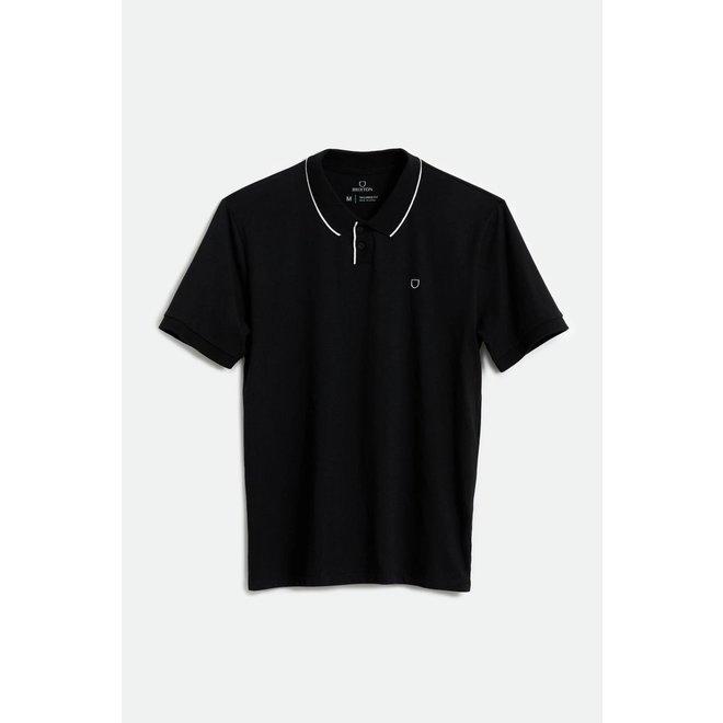 Proper S/S Pique Polo Knit in Black/White