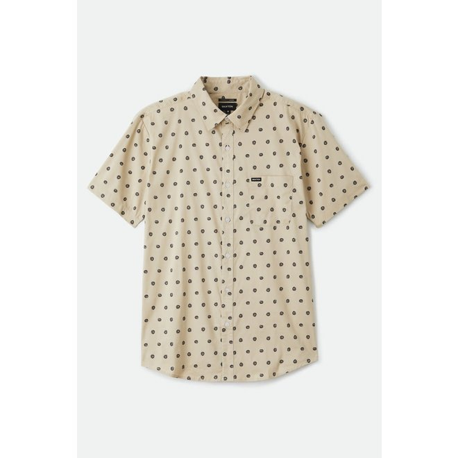 Charter Print Woven Shirt in Off White/Charcoal