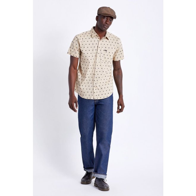 Charter Print S/S Woven Shirt in Off White/Charcoal