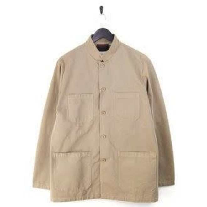Workwear Nehru Collar Jacket - Light Twill in Light Pearl