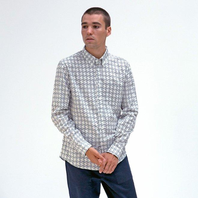 Mod Button Down Shirt - Geo Wave in White Sand