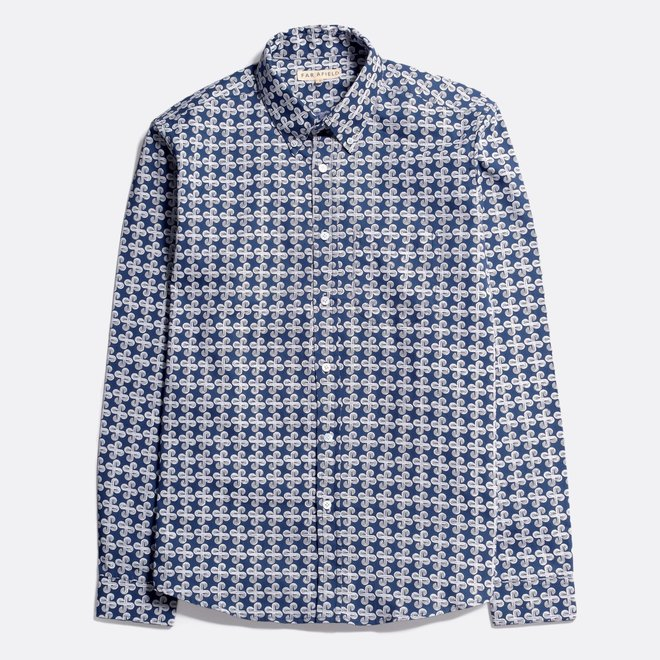 Mod Button Down Shirt - Geo Wave in Ensign Blue
