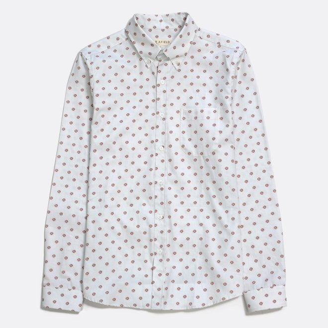 Mod Button Down Shirt - Aloha Floral in White Sand