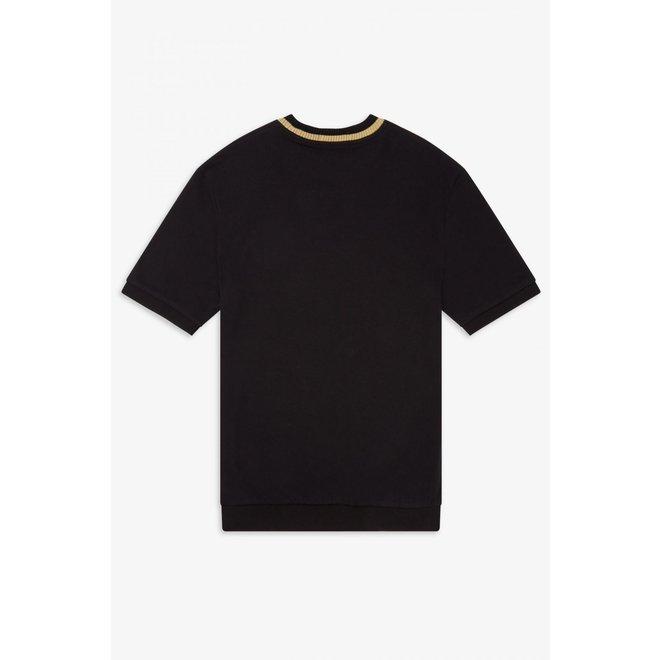 Reissues - Crew Neck Pique T-Shirt in Black/Champagne