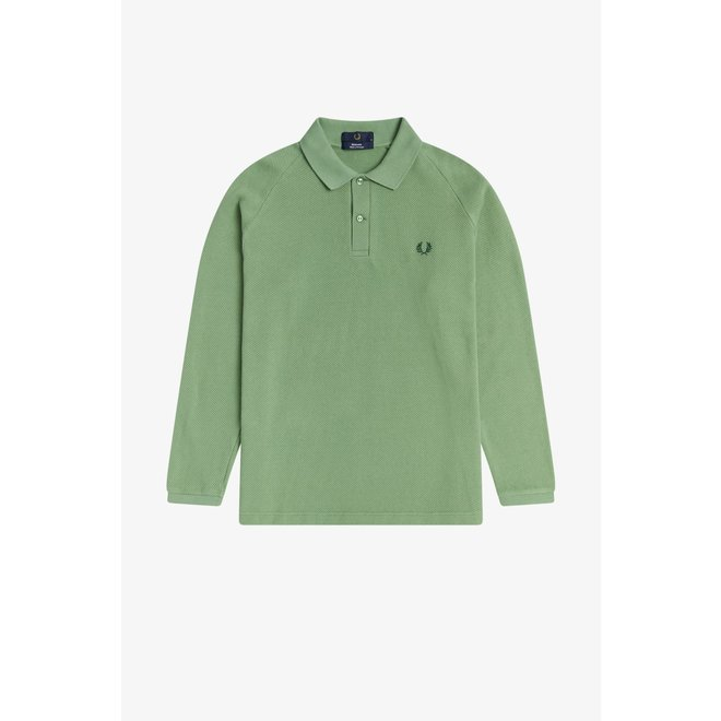 Reissues - Long Sleeve Textured Piqué Shirt in Pistachio
