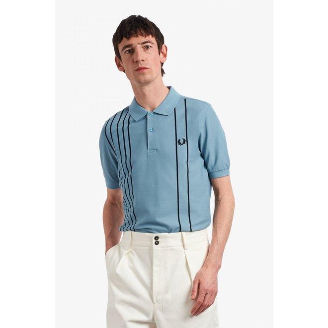 Refined Stripe Polo Shirt in Smoke Blue