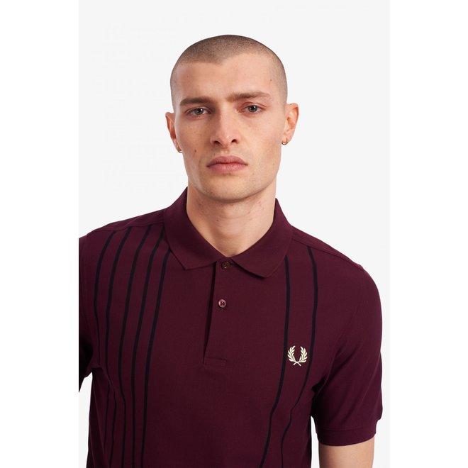 Refined Stripe Polo Shirt in Mahogany