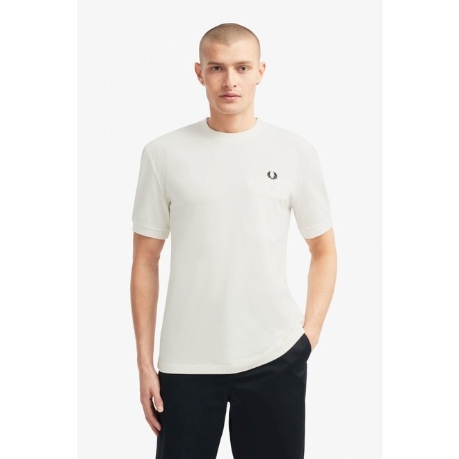 Pocket Detail Piqué T-Shirt in Snow White