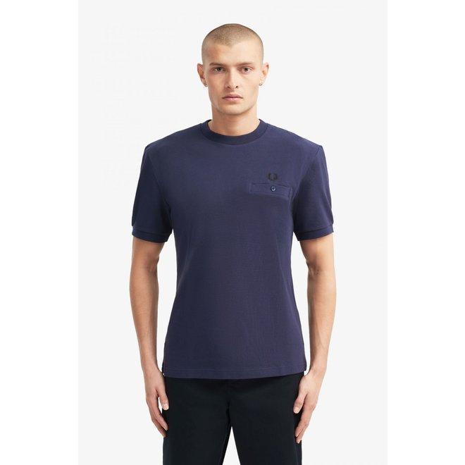 Pocket Detail Piqué T-Shirt in Carbon Blue