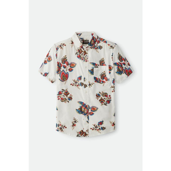 Charter Print Woven Shirt in Off White/Red