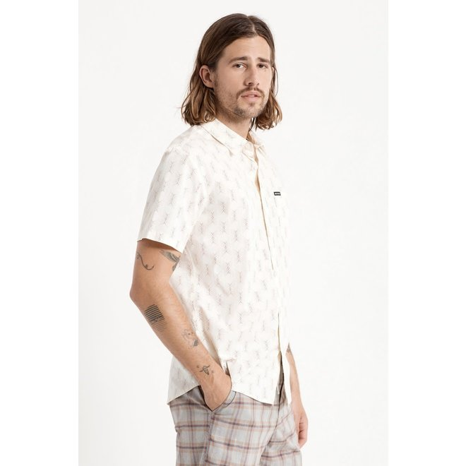 Charter Crossover Stretch Woven Shirt in Off White/Cowhide