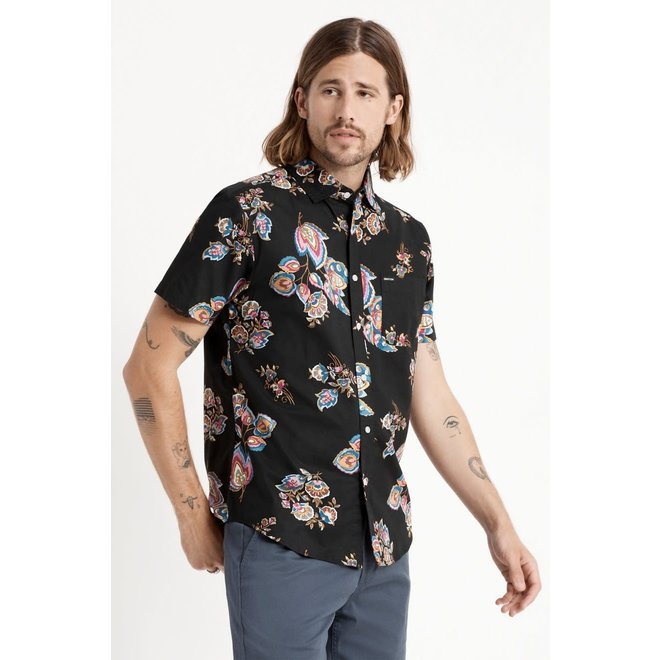 Charter Print Woven Shirt in Black/Purple