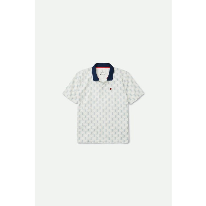 Proper Crossover Mesh Polo Shirt in Off White/Washed Navy