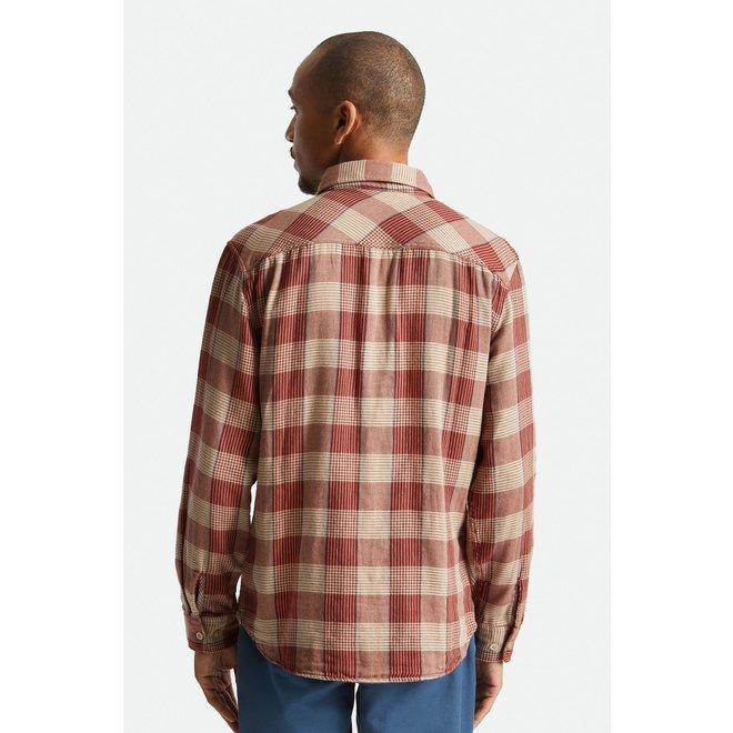 Bowery Soft Weave Shirt in Vanilla/Dark Brick