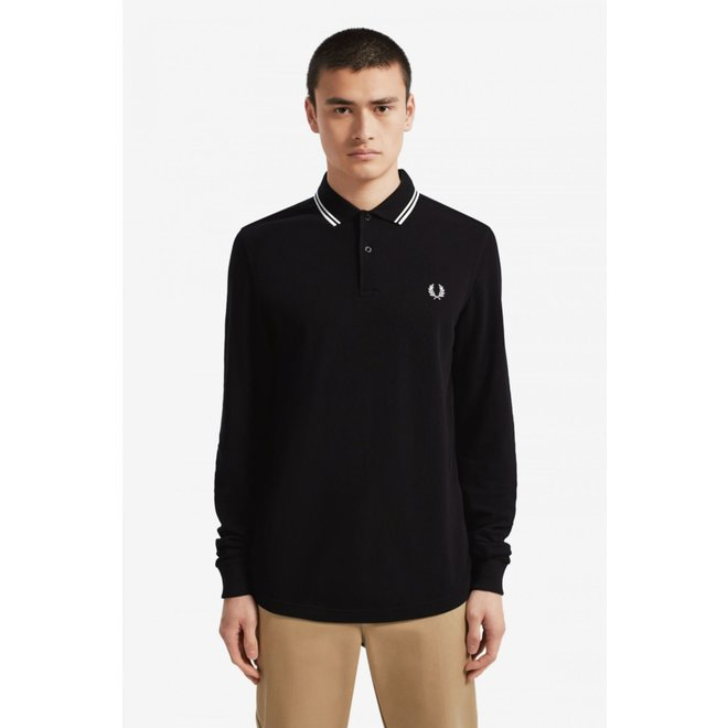 Fred Perry Shirt Long Sleeve in Black/Porcelain/Porcelain