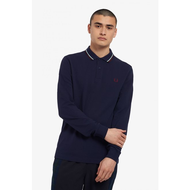 Fred Perry Shirt Long Sleeve in Carbon Blue/Aubergine