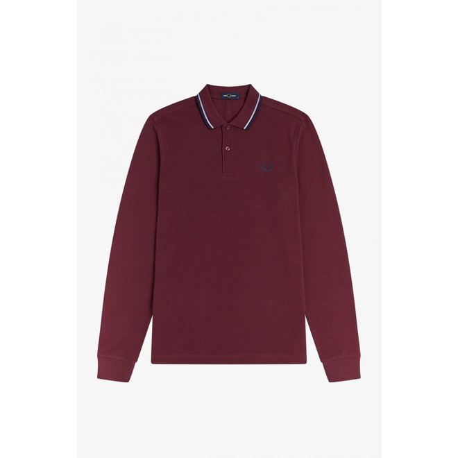 Fred Perry Shirt Long Sleeve in Aubergine/Carbon Blue
