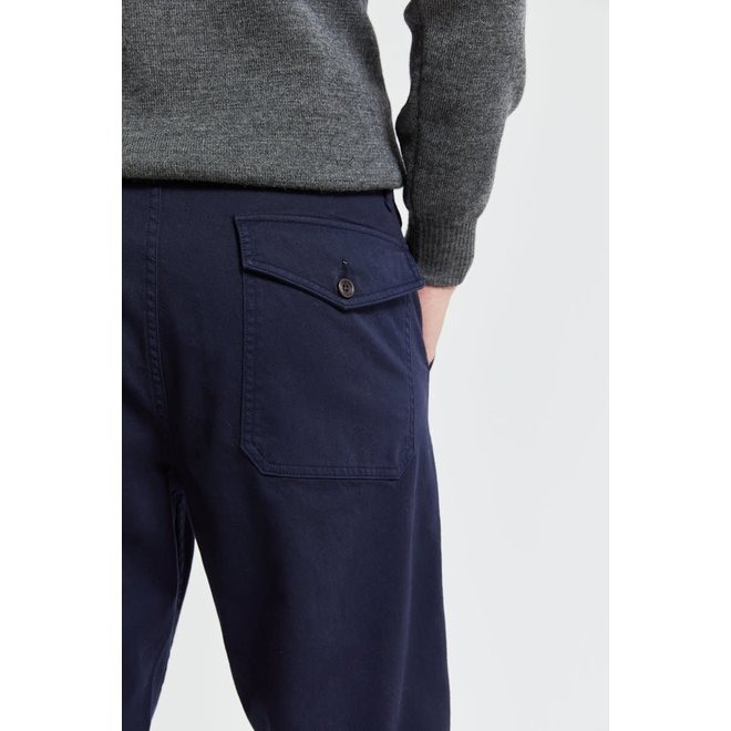 Brushed Canvas Trousers in Navy