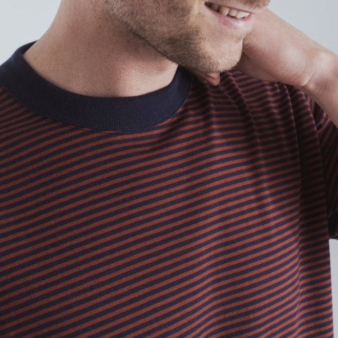 Striped Callac Tee in Navy/Red