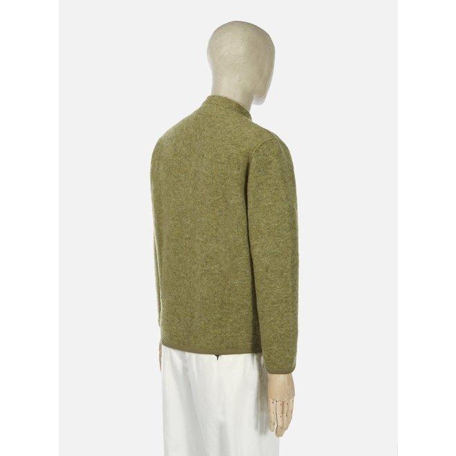 Wool Fleece Cardigan In Light Olive
